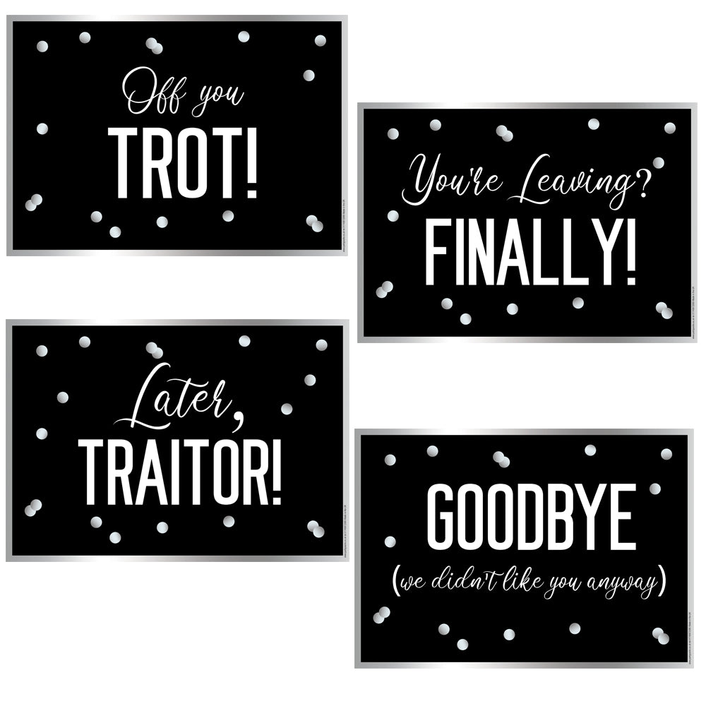 Funny 'You're Leaving' or Retirement A3 Posters - Pack of 4