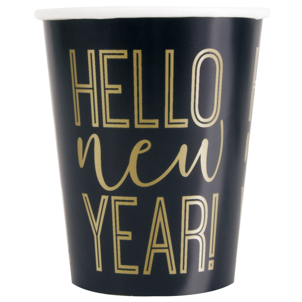 Happy New Year Paper Cups - 250ml - Pack of 8