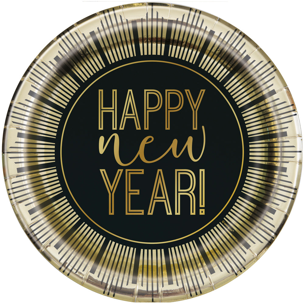 Happy New Year Paper Plates - 22cm - Pack of 8