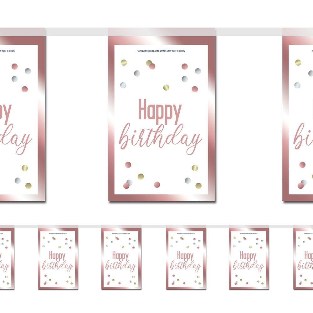 Glitsy Rose Gold Happy Birthday Paper Flag Bunting - 2.4m