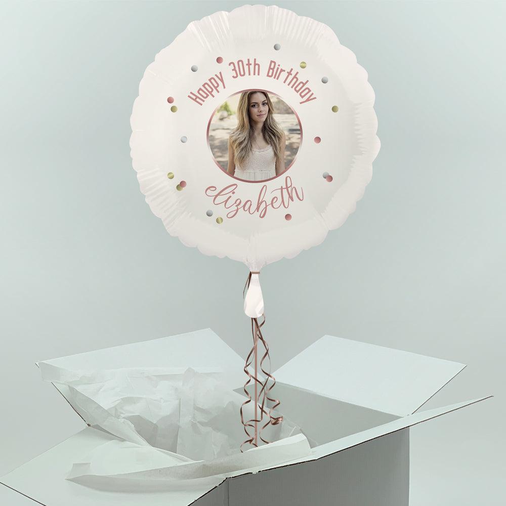 Inflated Personalised Photo Balloon -  Rose Gold Glitz