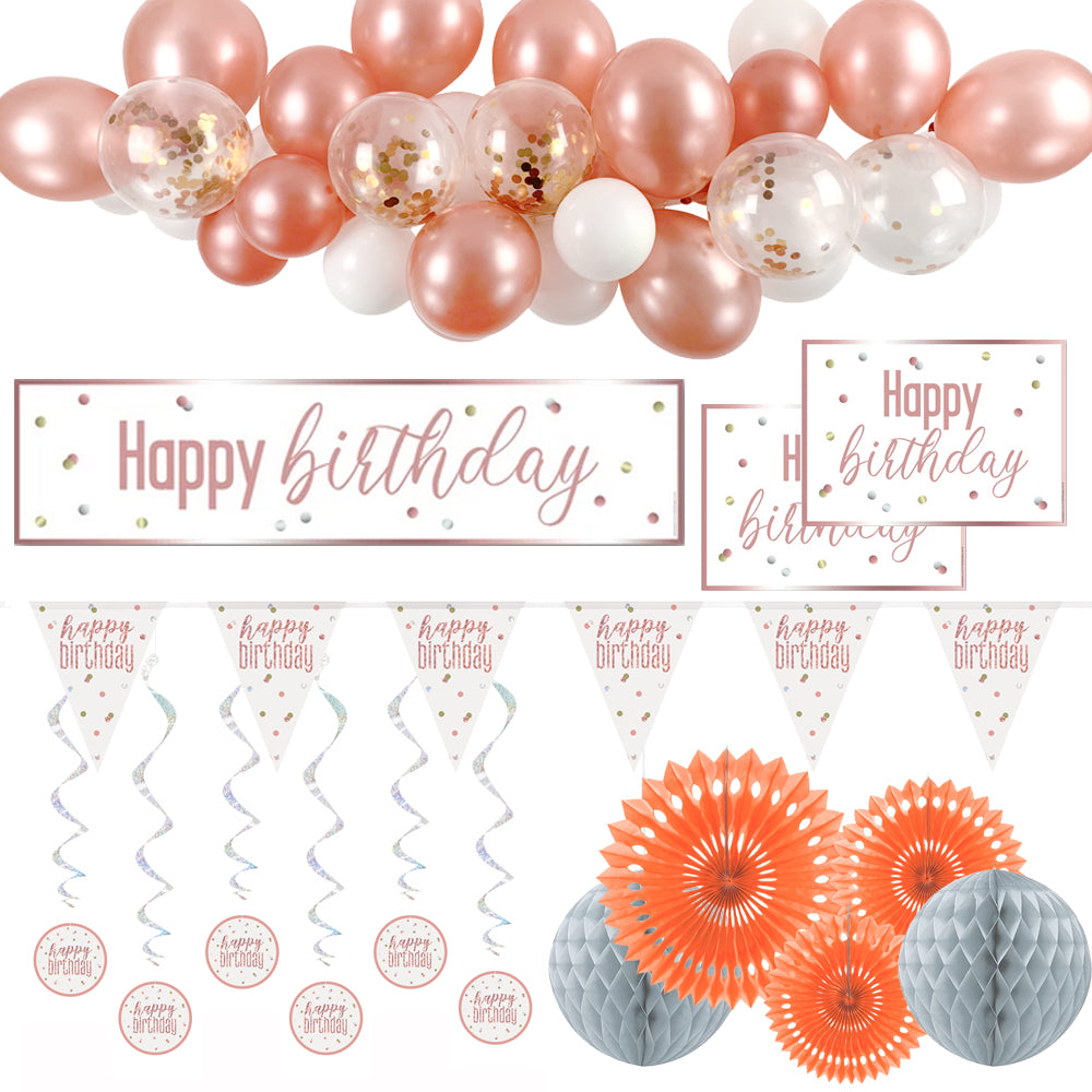 Rose Gold Glitz Happy Birthday Decoration Pack