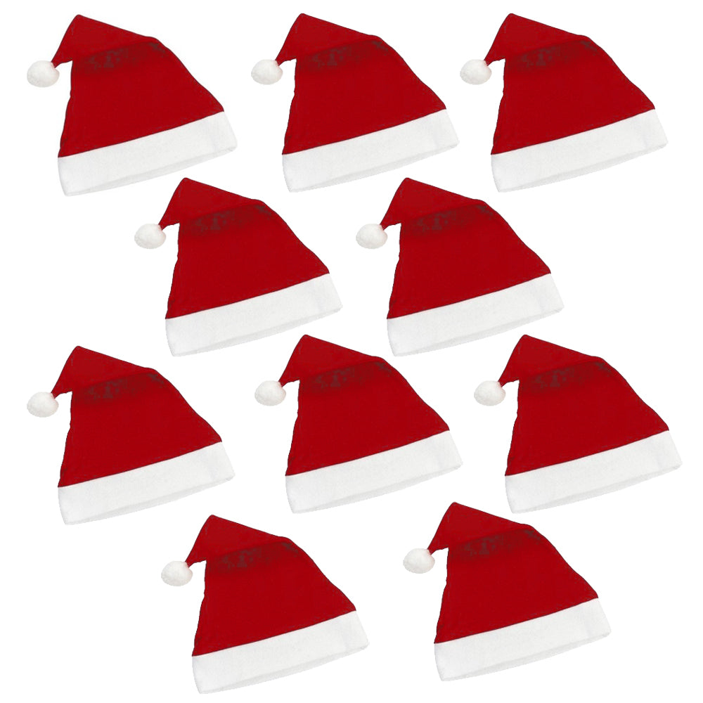 Christmas Santa Hats - Pack of 10