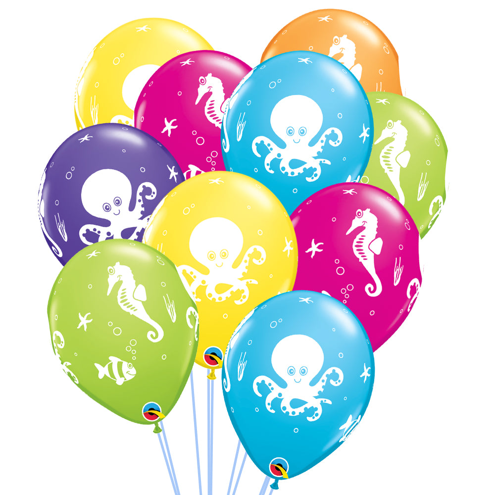 "Sea Creatures Printed Latex Balloons - 11"" - Pack of 10"
