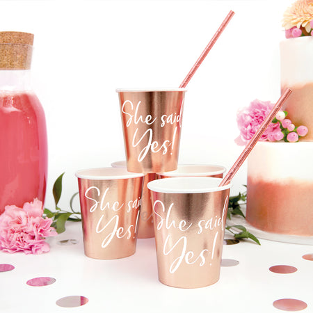 Rose Gold Hen Party She Said Yes Paper Cups - 220ml - Pack of 6