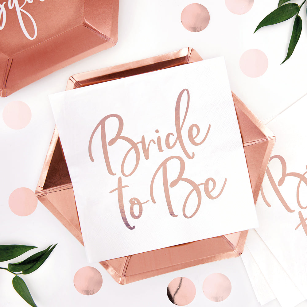 Rose Gold Bride To Be Paper Napkins - 33cm - Pack of 20