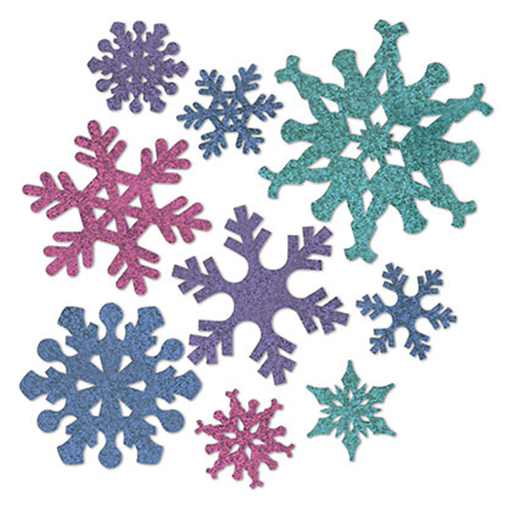 "Glitter Snowflake Cutouts - 5""- 12"" - Pack of 9"