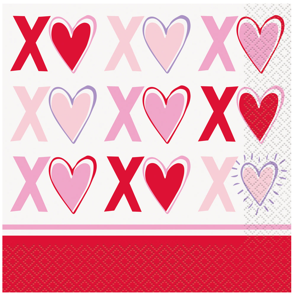 Sparkling Hearts Luncheon Napkins - Pack of 16