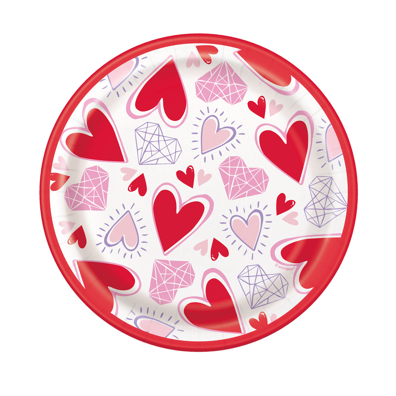 "Small Sparkling Hearts Paper Dessert Plates - 7"" - Pack of 8"