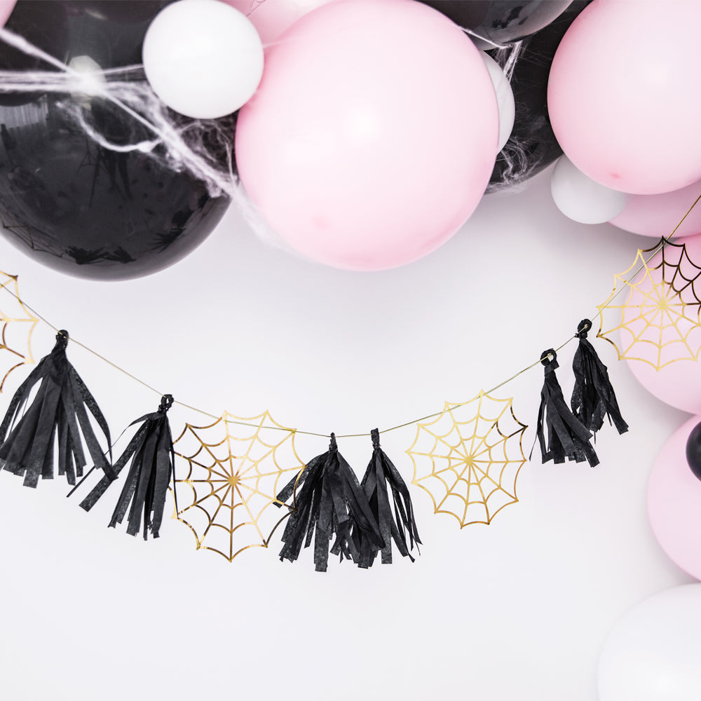 Spider Web Black & Gold Tassel Garland - 1.75m