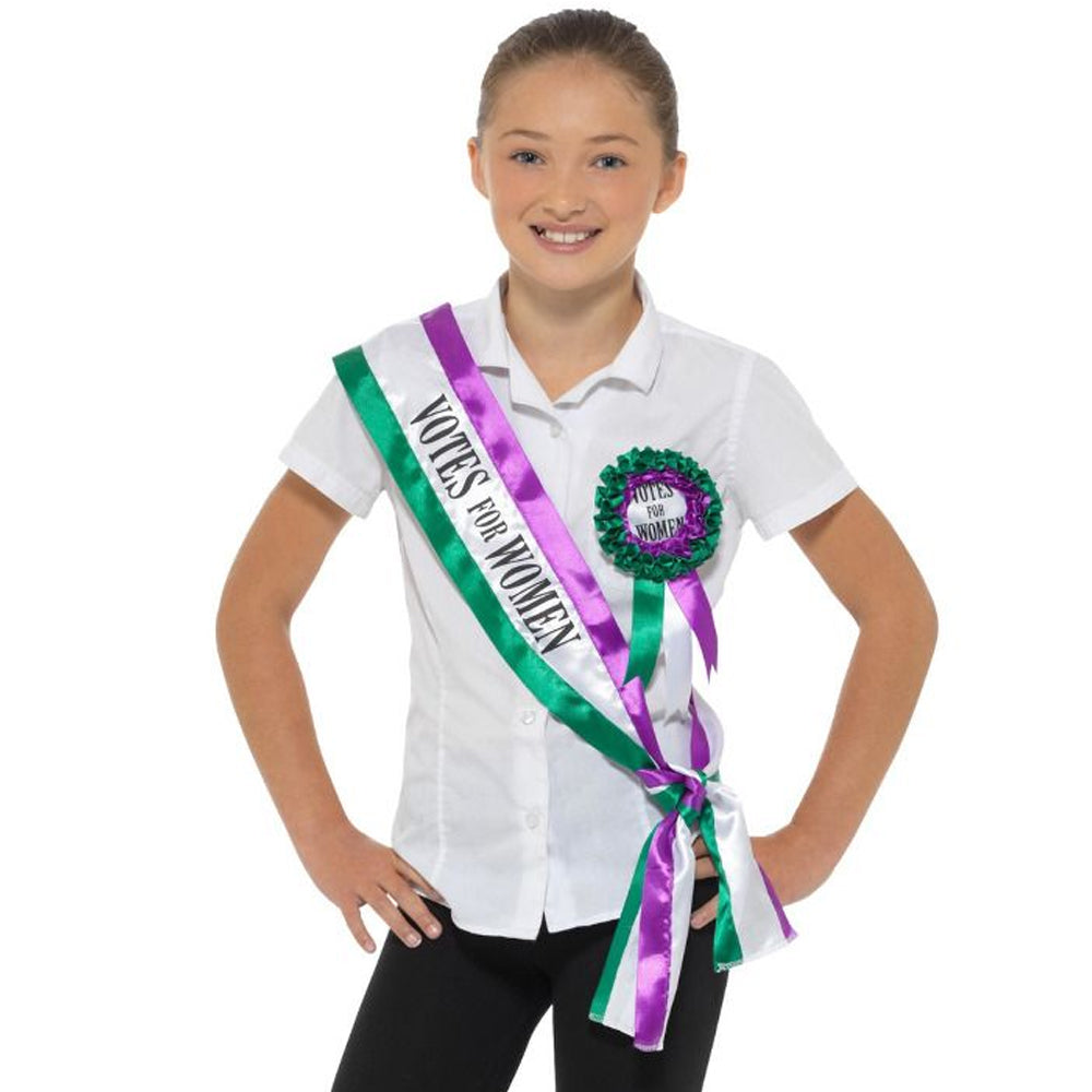 Votes For Women Sash and Suffragette Rosette Kit