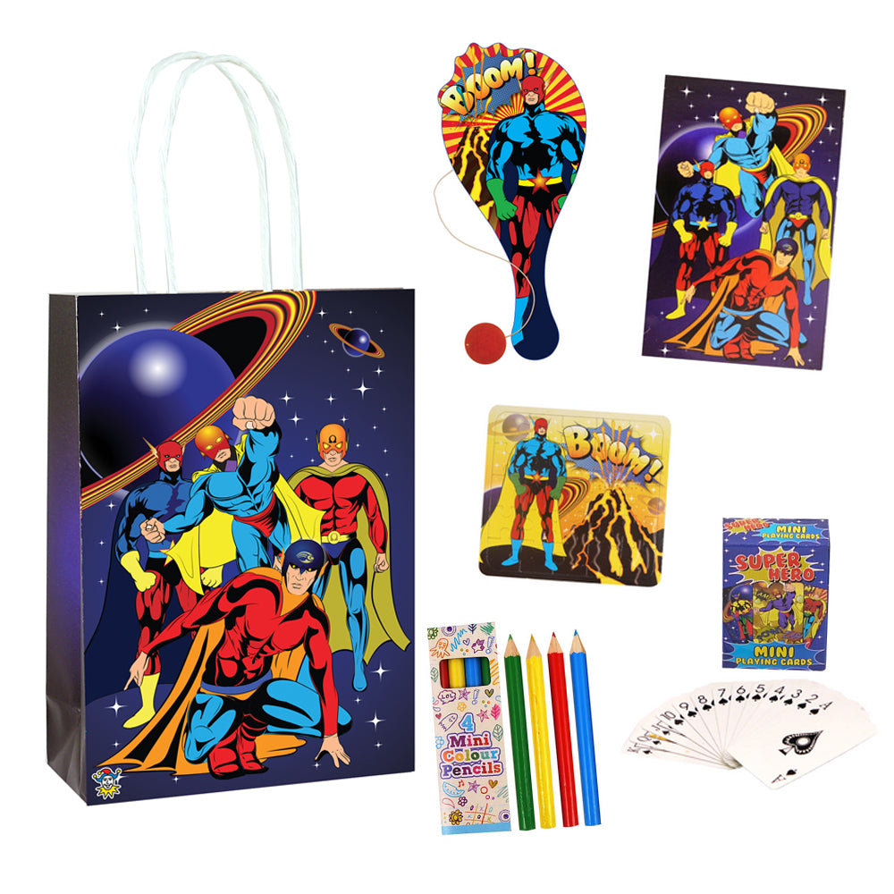 Superhero Plastic Free Party Bag Kit with Contents - Each