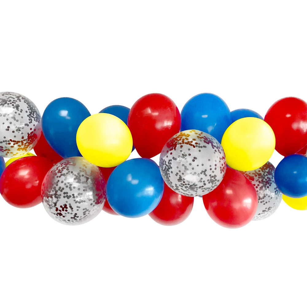 Red, Yellow and Blue Balloon Arch Garland DIY Kit - 2.5m