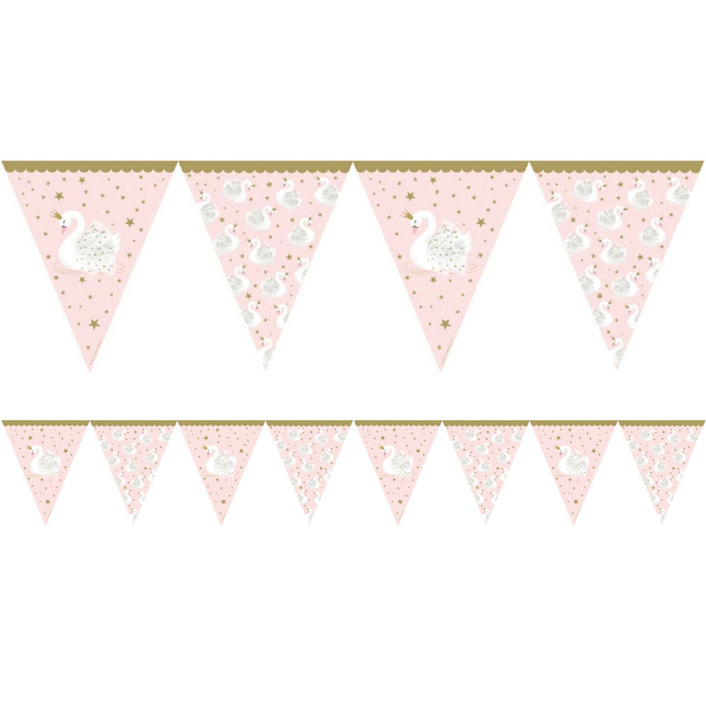 Stylish Swan Paper Flag Bunting - 3.7m