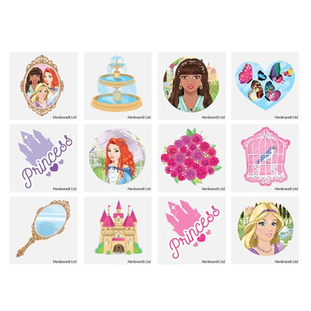 Mini Princess Tattoos - Assorted Designs - 4cm - Pack of 12