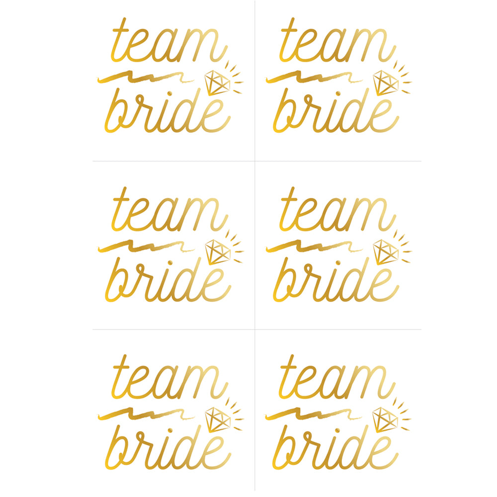 Gold Foil Hen Party Team Bride Temporary Tattoos - Pack of 6