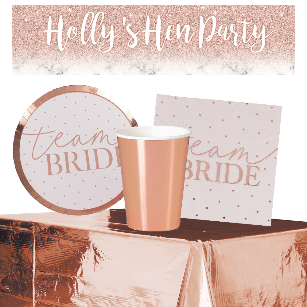Team Bride Hen Party Tableware Pack for 8 with FREE Personalised Banner!