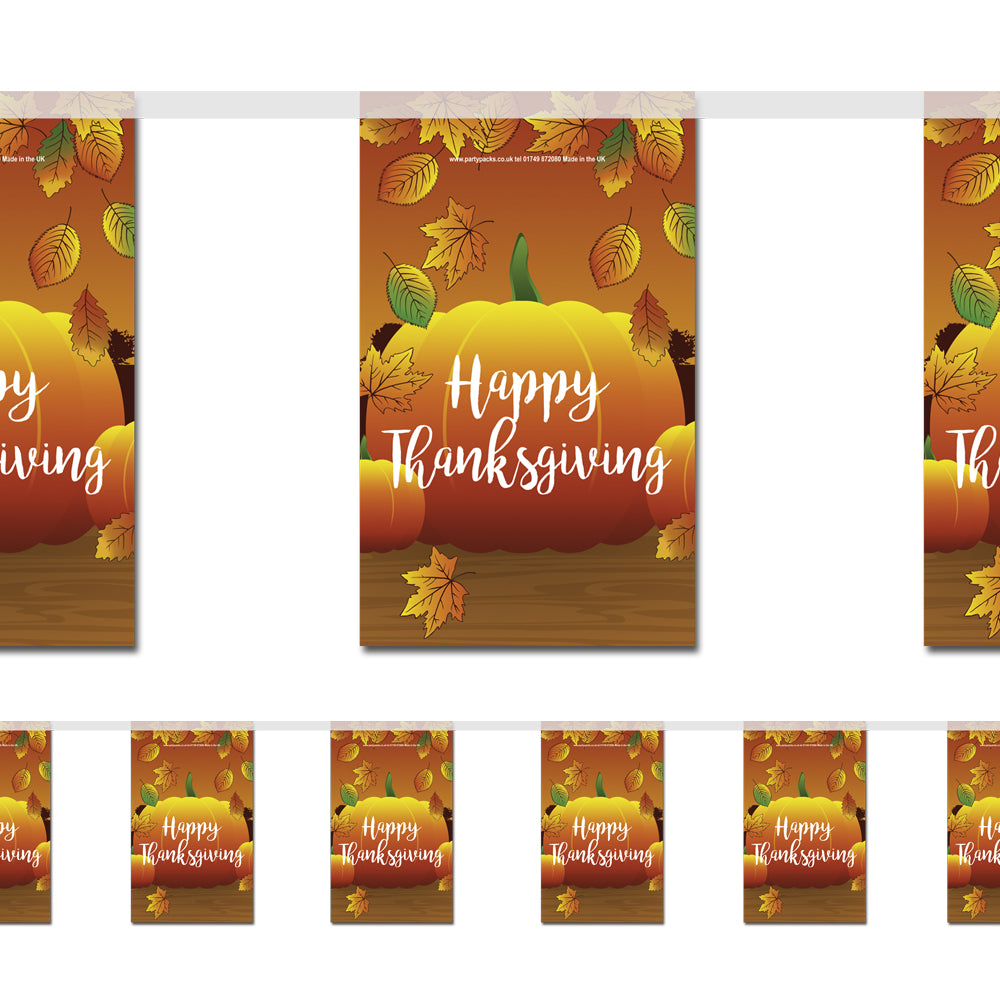 Thanksgiving Paper Flag Bunting Decoration - 2.4m
