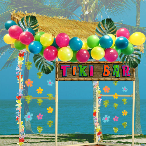 Tiki Hut Bar With Decorations - 1.4m