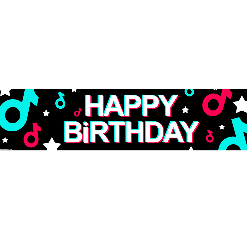 Tik Party Happy Birthday Banner - 1.2m