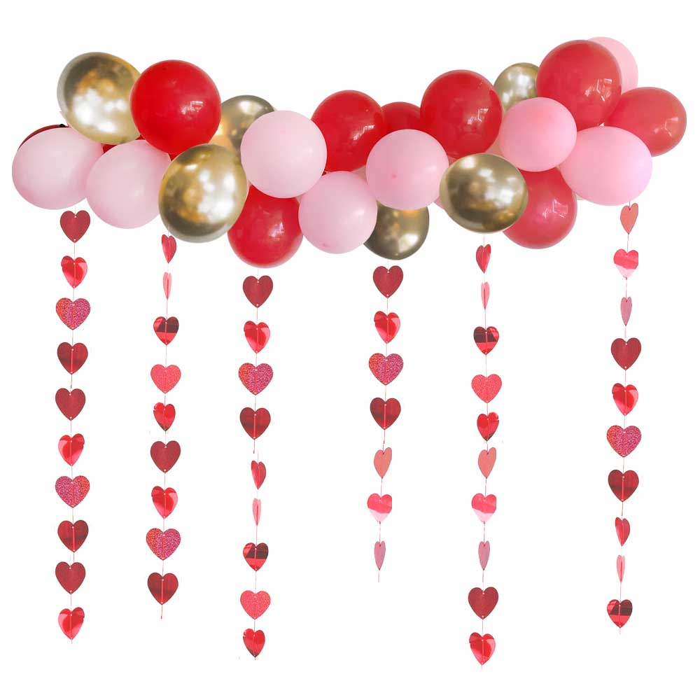 Valentine's Day Balloon Arch DIY Kit With Heart Strings- 2.5m