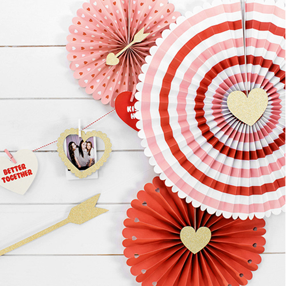 Valentines Paper Decorative Fans - Pack of 3