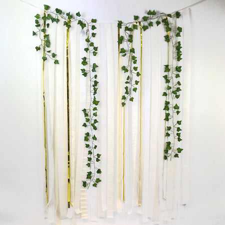 White & Gold Botanical Paper Streamer DIY Backdrop Kit