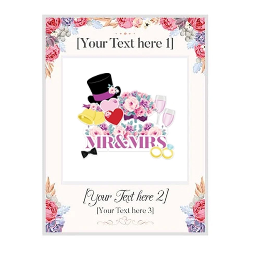 Bespoke Giant Wedding Selfie Frame with 11 Photo Props - 122cm