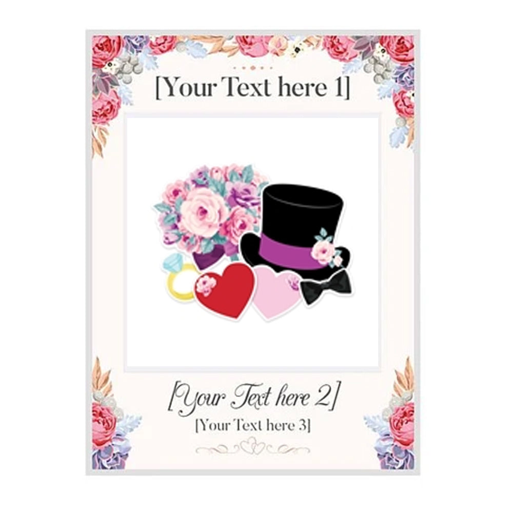 Bespoke Wedding Selfie Frame with 6 Photo Props - 79cm