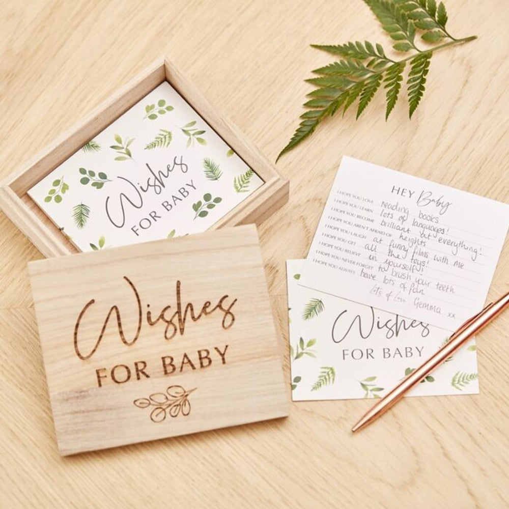 Botanical Baby Shower Advice Cards and Wooden Keepsake Box