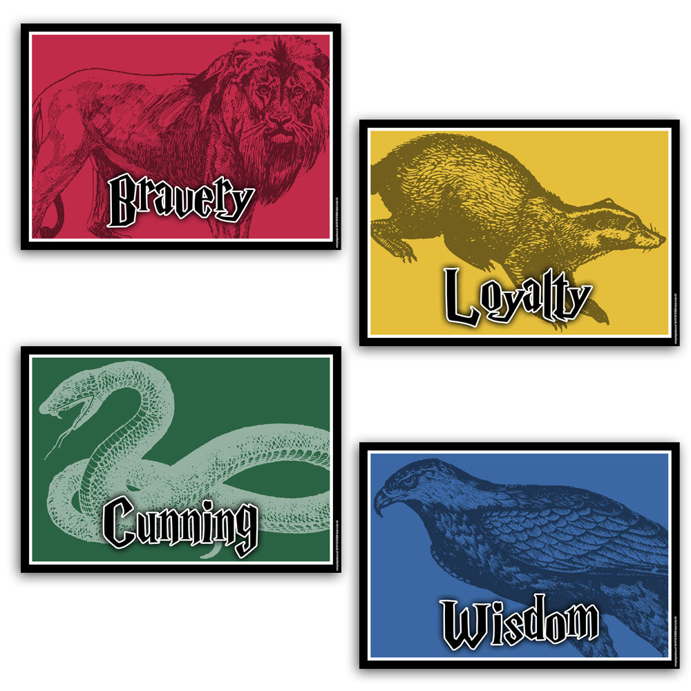 Wizard Houses Poster Decorations - A3 - Pack of 4