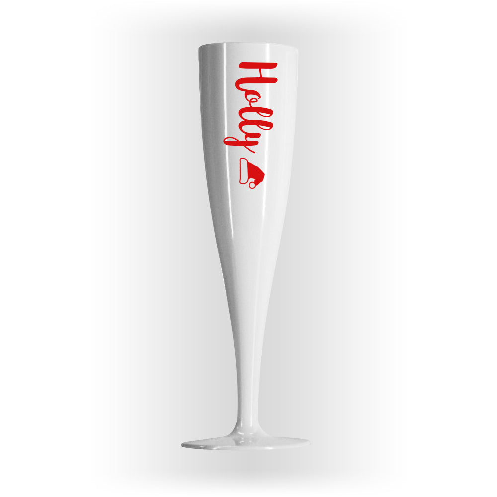 Red Text Christmas Personalised Champagne & Prosecco Flute Glass White - 175ml - Each