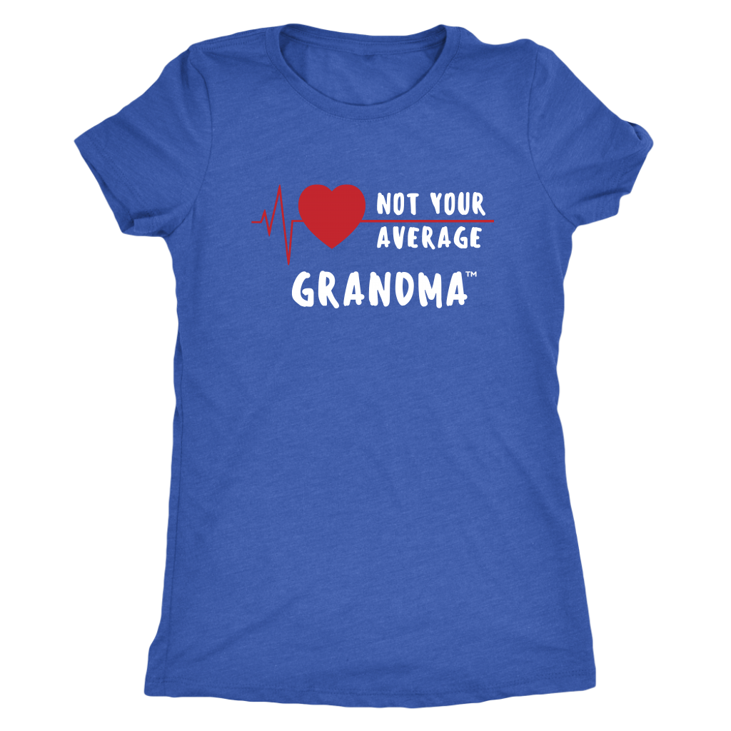 """Not Your Average Grandma"" Women's Crew Neck Tee, White Letters"