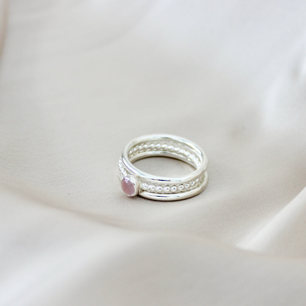 Rose Quartz Stacking Rings