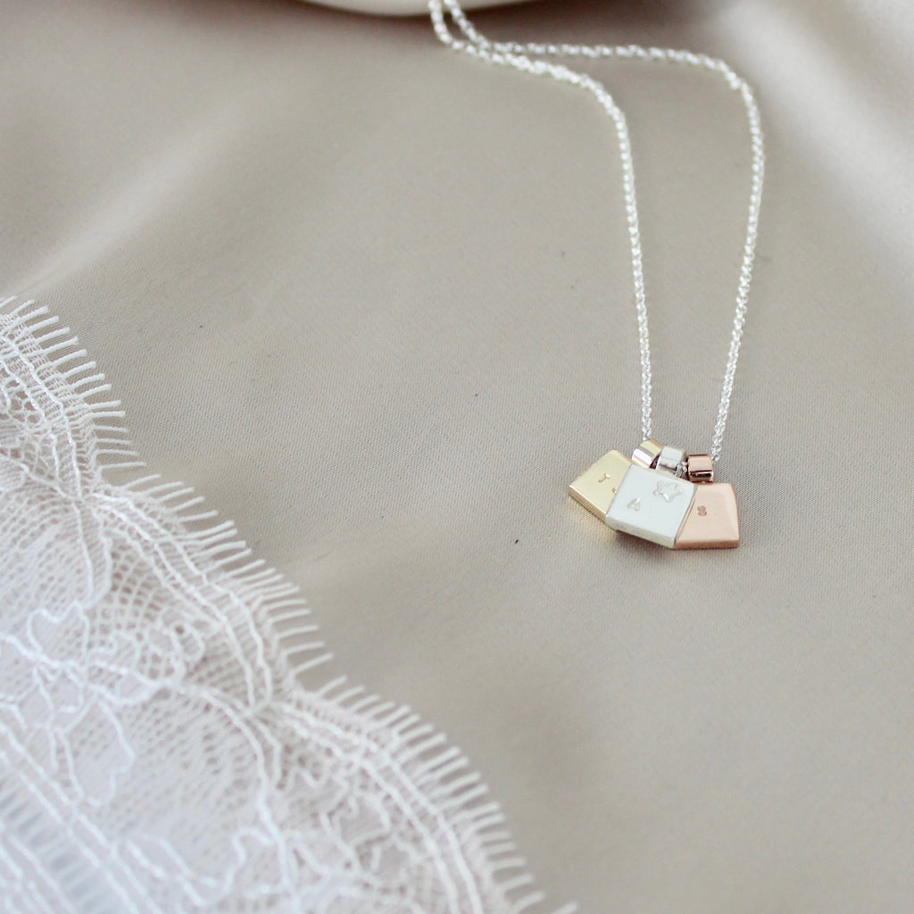 Square Initial Necklace Trio