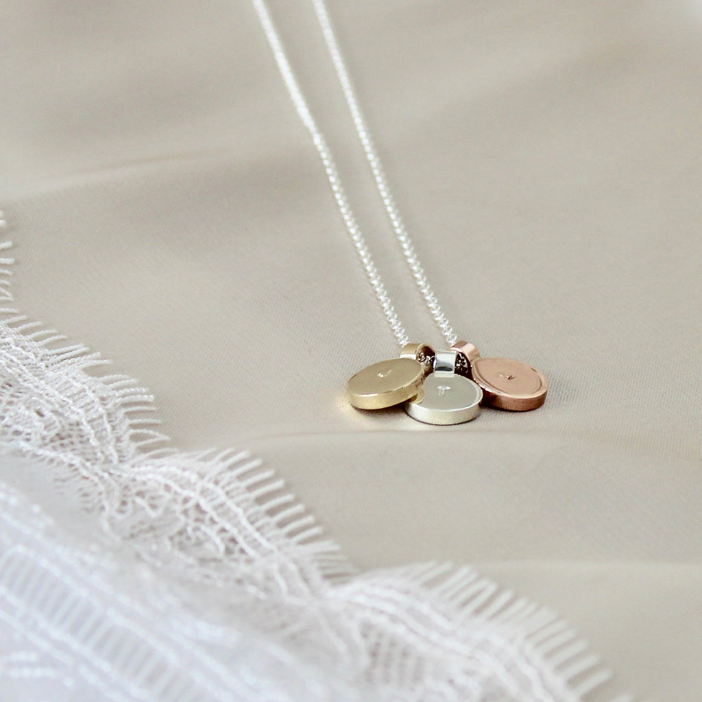 Round Initial Necklace Trio