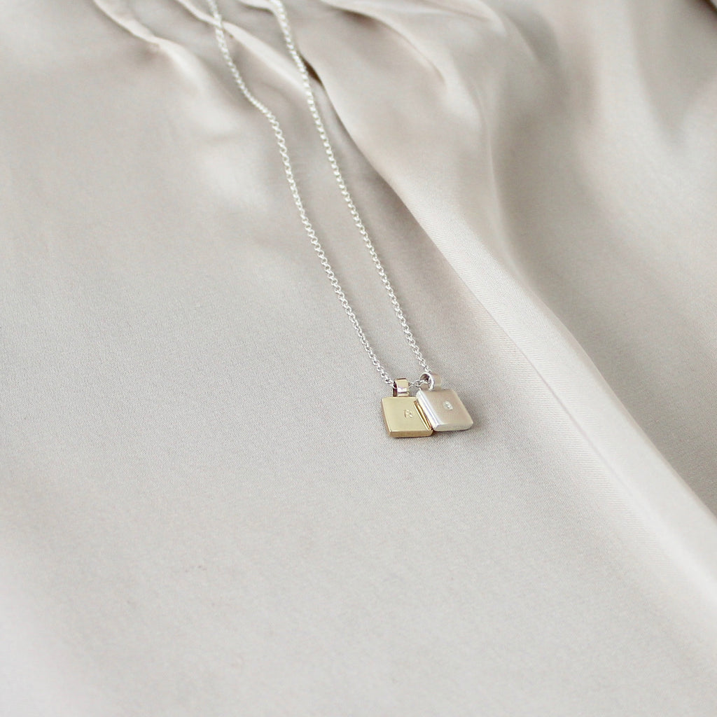 Square Initial Necklace Duo