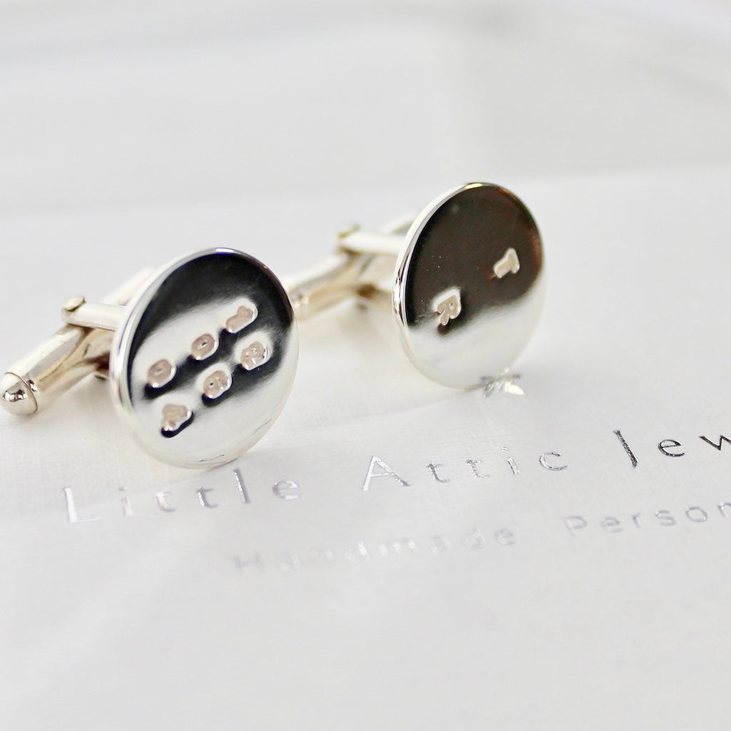 Disc Cufflinks Sterling Silver