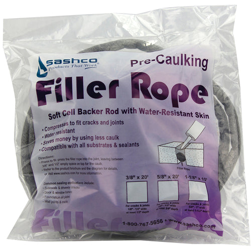 Sashco Filler Rope Pre-Caulking Soft Cell Backer Rod Packs
