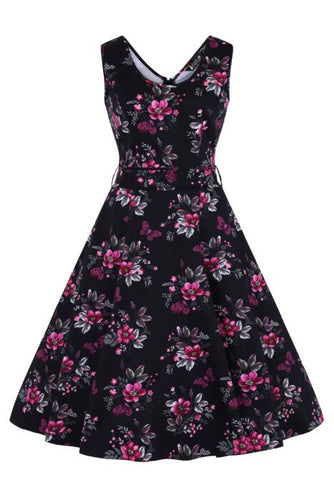 Charlotte Dress - Pearly Pink Butterflies on Black