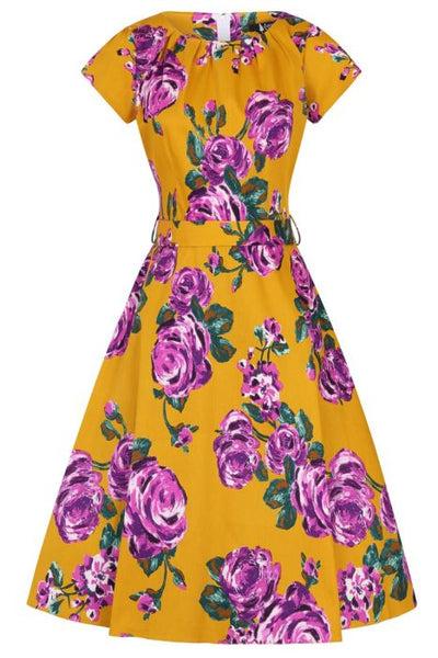 New // LADY VINTAGE 'Day Dress - Purple Rose On Mustard' // Sizes 14 & 20