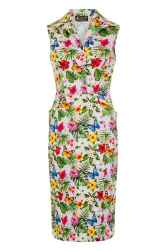 New // LADY VINTAGE 'Annie Summer Floral - Pink' Dress // Sizes, 14, 16 & 18