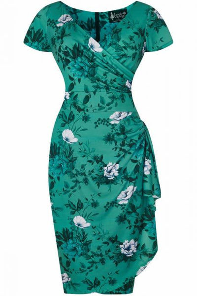 New // LADY VINTAGE 'Elsie Dress - Wild Roses On Teal' // Size 22
