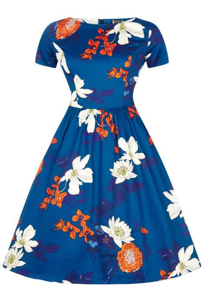New // LADY VINTAGE 'Eloise Dress - Blue Japanese Floral' Dress // Size 12