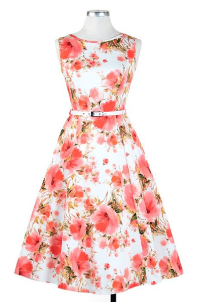 New // LADY VINTAGE 'Hepburn - Pink Fields' Dress // Sizes 22/24 & 26/28