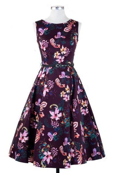Lady Vintage Plum Paisley Dress