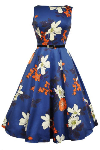New // LADY VINTAGE 'Hepburn - Japanese Floral On Blue' Dress // Size 26/28
