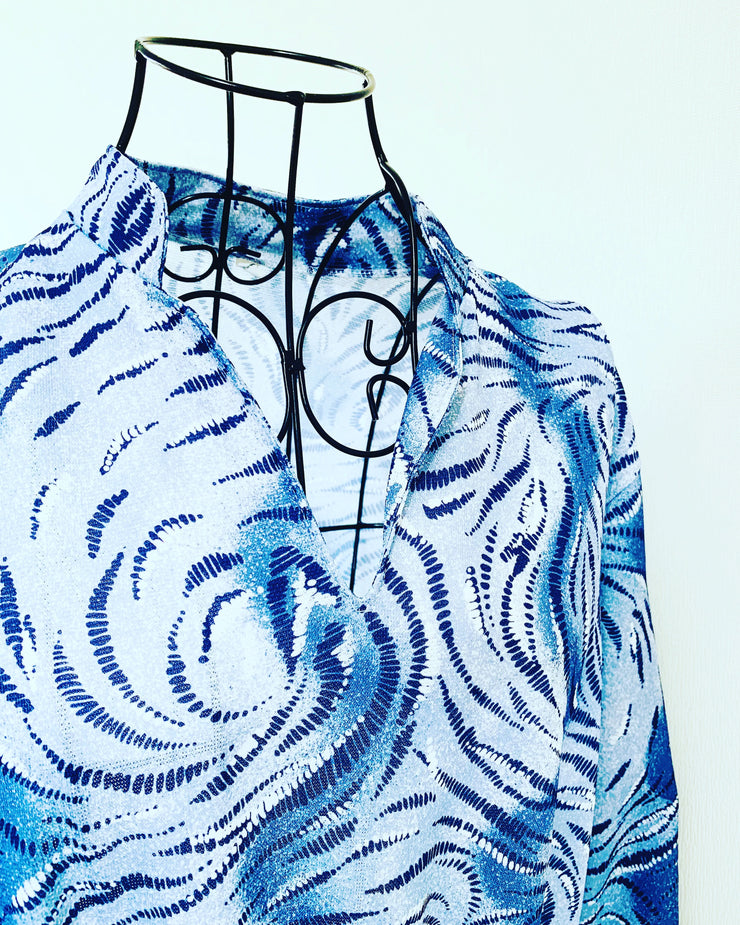 Vintage // Blue Swirled Dress // Best Suited To Sizes 16-18