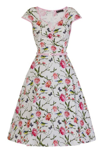 New // LADY VINTAGE 'Isabella - Beautiful Bluetits' Dress // Size 28/30