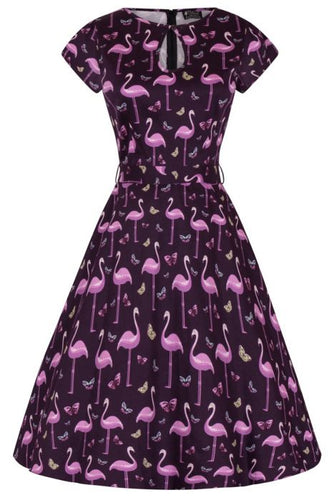 New // LADY VINTAGE 'Rockabilly Flamingo - Keyhole Day Dress' // Sizes 10 & 12 (SOLD OUT)